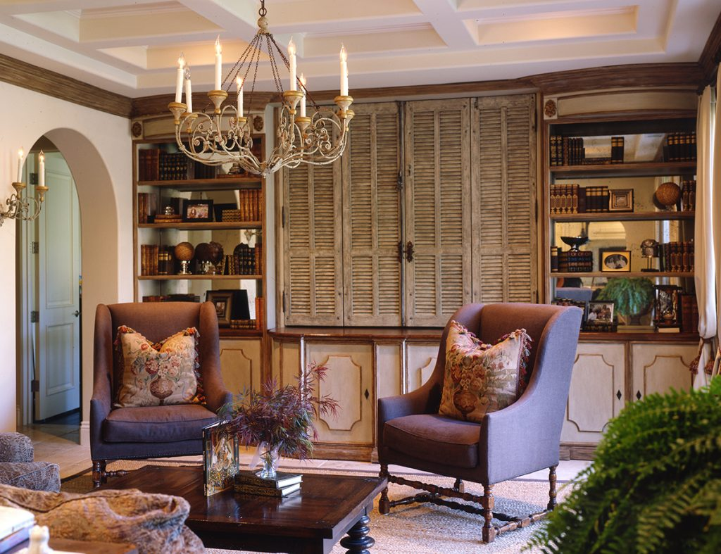 KeyVision Interiors Palos Verdes Estates Coffered Family Room